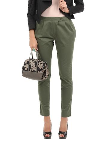 Elle Women Olive Trousers