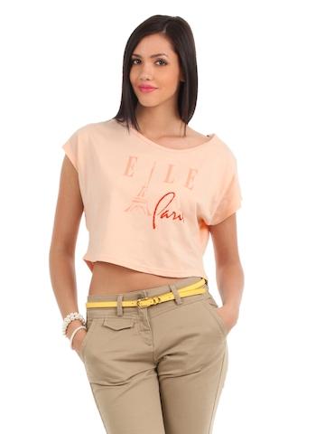 Elle Women Peach T-shirt