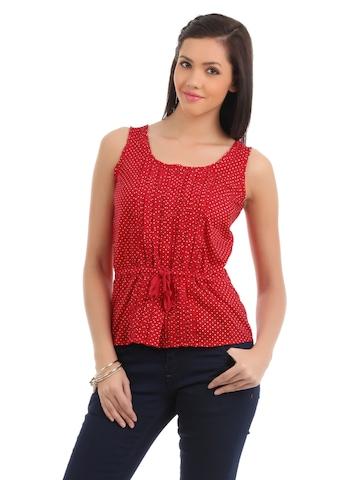 Elle Women Printed Red Top
