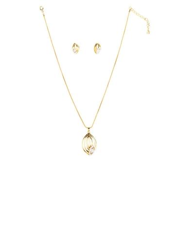 Estelle Women Gold Studded Earring & Pendant Set