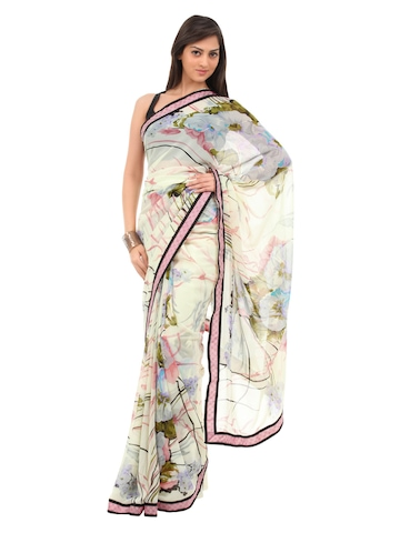 FNF Cream & Pink Evening Wear Sari
