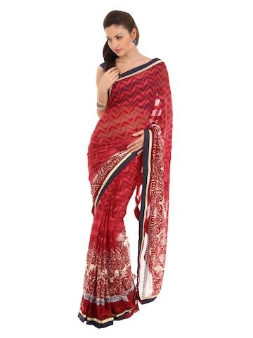 FNF Red & White Evening Wear Sari