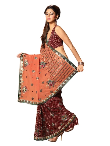 FNF Brown Wedding Collection Sari