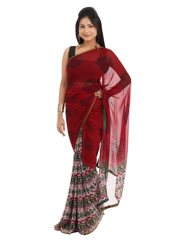 FNF Women Red Printed Sari