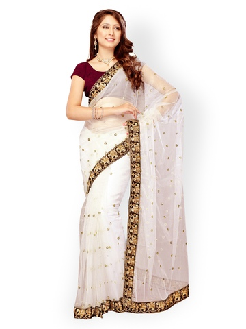 Fabdeal White Net Embroidered Fashion Saree available at Myntra for Rs.1359