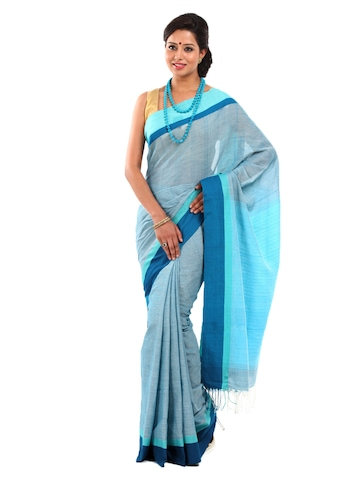 Fabindia Blue Ganga Jamuna Traditional Cotton Saree