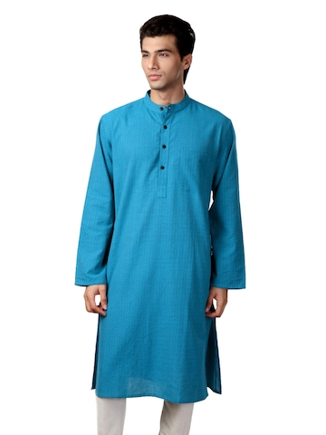Fabindia Men Blue Tanka Cross Kurta