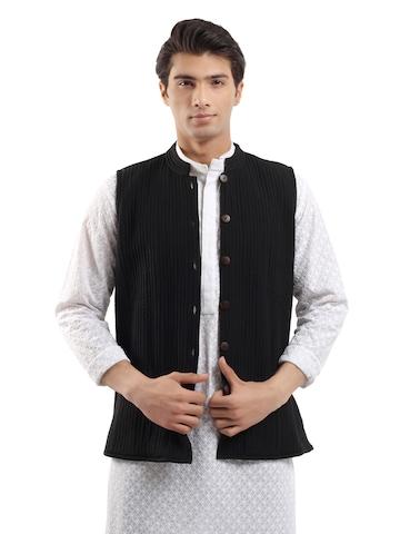 Fabindia Men Reversible Blue Sleeveless Jacket