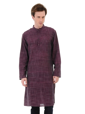 Fabindia Men Striped Purple Khadi Kurta