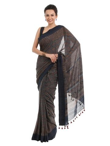 Fabindia Blue Printed Ajrakh Dhonekhali Sari