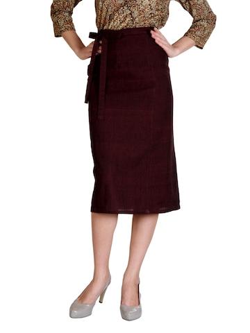 Fabindia Women Maroon Wrap Skirt