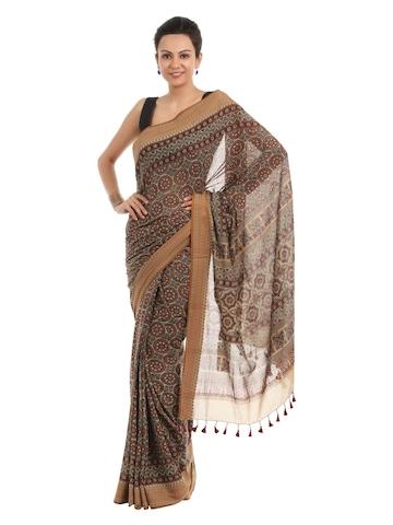 Fabindia Brown Hand Printed Sari