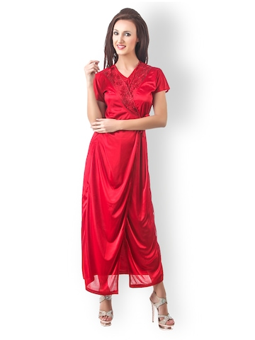 Fasense Red Nightdress Set with Robe at myntra