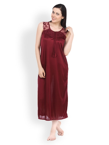Fasense Maroon Nightdress Set at myntra