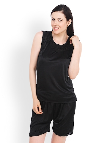 Fasense Black Nightdress Set at myntra