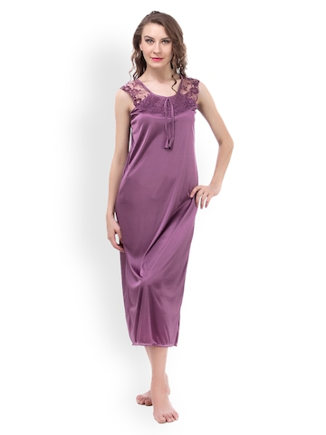 Fasense Purple Nightdress Set at myntra