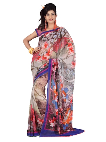 FNF Multi Coloured Printed Sari