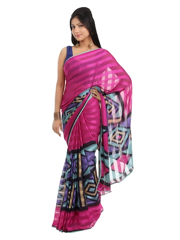 FNF Multi Coloured Printed Sari