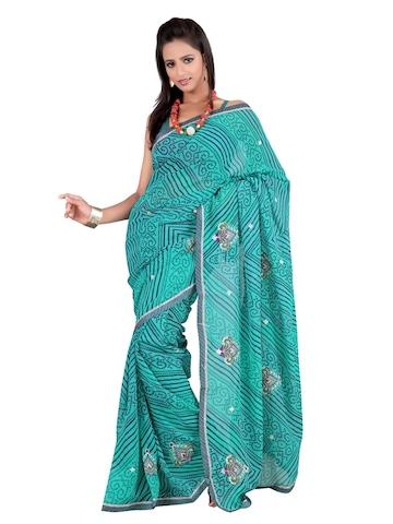 FNF Blue Printed Sari