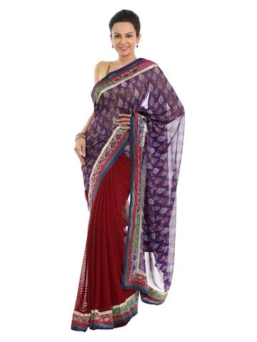 FNF Printed Purple Sari