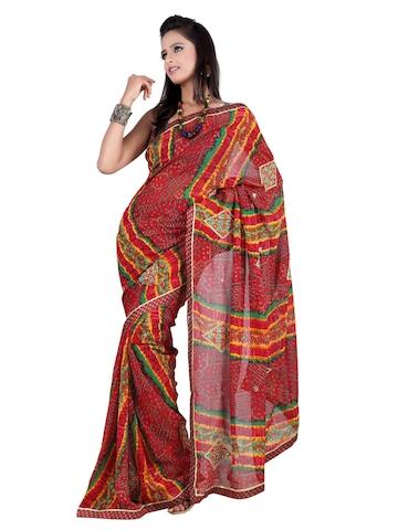 FNF Red Printed Sari
