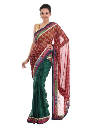 FNF Printed Red Sari