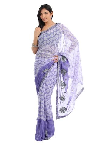 FNF Purple Printed Sari