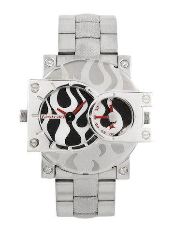 Fastrack Men Black and Silver Dial Watch