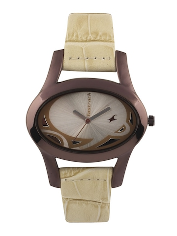 Fastrack Women Brown & Silver Dial Watch