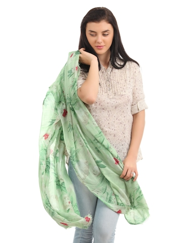 Femella Women Green Printed Scarf