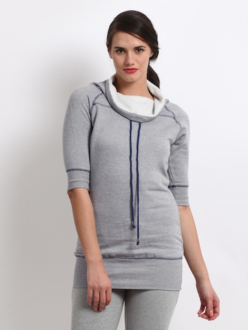 Femella Women Grey Melange Sweatshirt