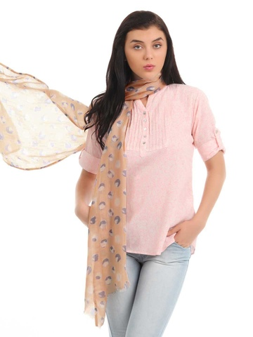 Femella Women Peach Printed Scarf