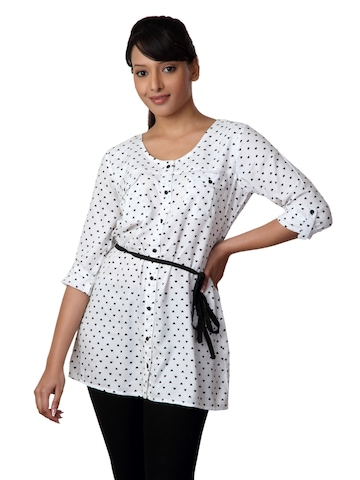 Femella Women White Printed Tunic