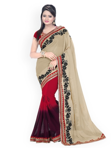 Florence Beige & Red Embroidered Chiffon Fashion Saree at myntra