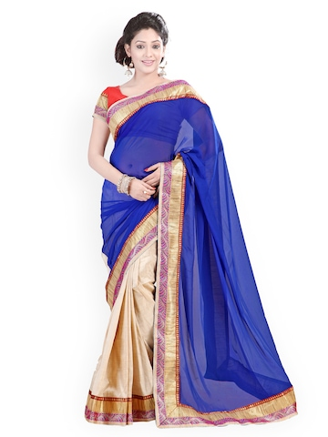 Florence Blue & Beige Art Silk Fashion Saree at myntra