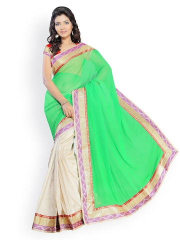 Florence Green & Beige Georgette Fashion Saree at myntra
