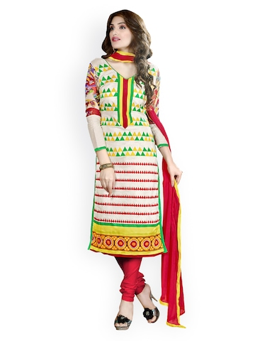 Florence Multicoloured Chanderi Cotton Semi-Stitched Dress Material at myntra