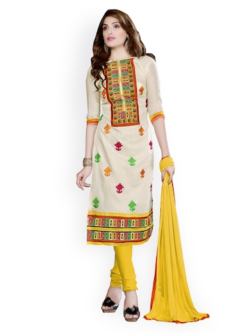 Florence Off-White & Yellow Chanderi Cotton Semi-Stitched Dress Material at myntra