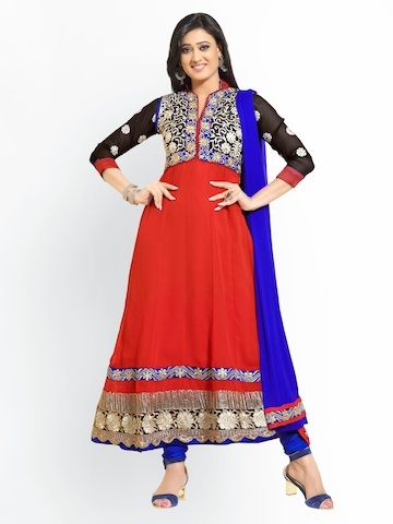 Florence Red & Blue Georgette Unstitched Anarkali Dress Material at myntra