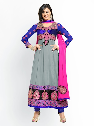 Florence Grey & Blue Georgette Unstitched Dress Material at myntra