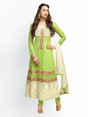 Florence Green & Off-White Georgette Unstitched Anarkali Dress Material at myntra
