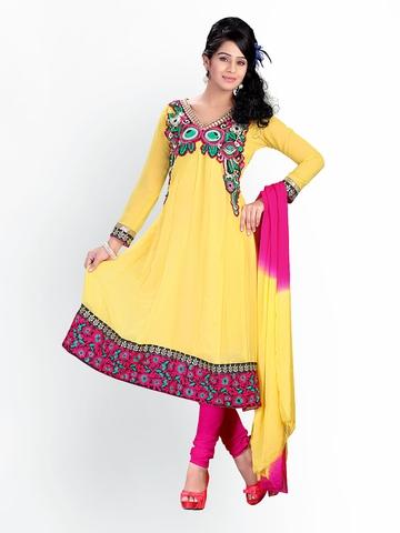 Florence Yellow Chiffon Unstitched Anarkali Dress Material at myntra
