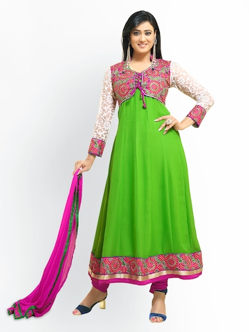Florence Green & Pink Georgette Unstitched Dress Material at myntra