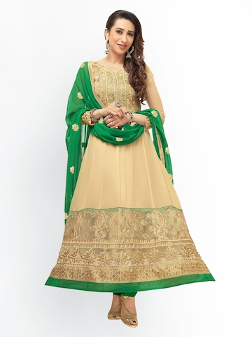 Florence Beige & Green Georgette Unstitched Anarkali Dress Material at myntra