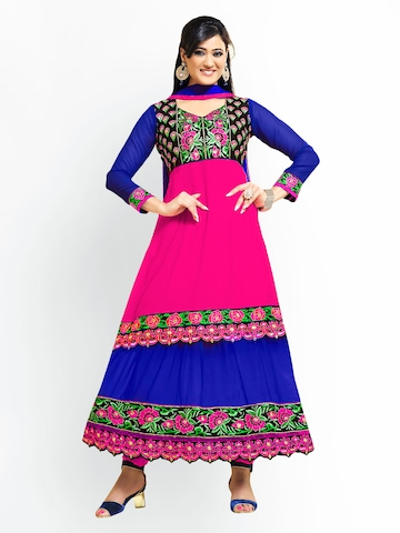 Florence Pink & Blue Georgette Unstitched Anarkali Dress Material at myntra