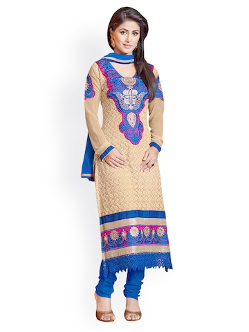 Florence Beige & Blue Georgette Unstitched Dress Material at myntra