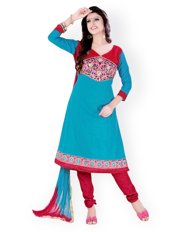 Florence Blue & Red Cotton Semi-Stitched Anarkali Dress Material at myntra