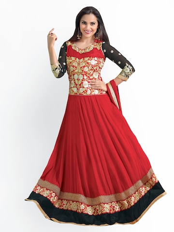 Florence Red Georgette Anarkali Unstitched Dress Material at myntra