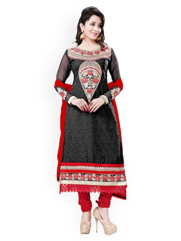 Florence Black & Red Georgette Unstitched Dress Material at myntra