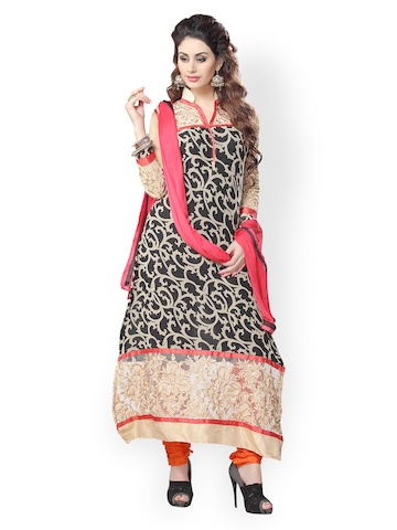 Florence Black & Pink Georgette Semi-Stitched Dress Material at myntra